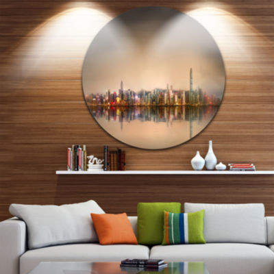 Design Art Singapore Financial District Skyscrapers Ultra Glossy Cityscape Circle Wall Art
