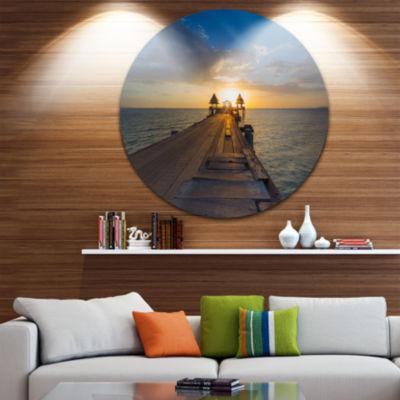 Design Art Huge Wooden Pier into Setting Sun PierSeascape Metal Circle Wall Art