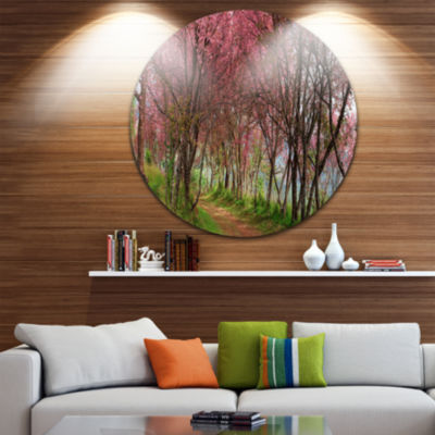 Design Art Sakura Pink Flowers in Thailand Landscape Metal Circle Wall Art