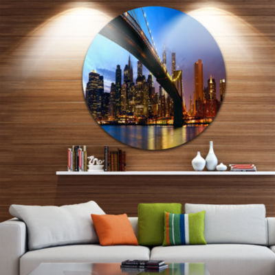 Design Art Manhattan City with Bridge under Blue Sky Ultra Glossy Cityscape Circle Wall Art