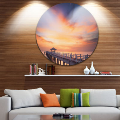 Design Art Infinite Wooden Bridge under Clouds SeaBridge Metal Circle Wall Art