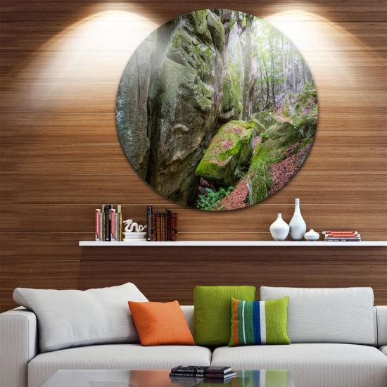 Design Art Wild Deep Moss Forest Ukraine LandscapeMetal Circle Wall Art