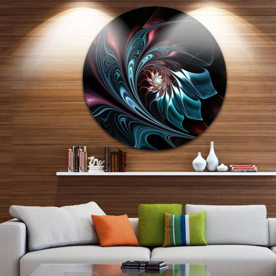 Design Art Blue Abstract Floral Shapes Large Floral Metal Circle Wall Art