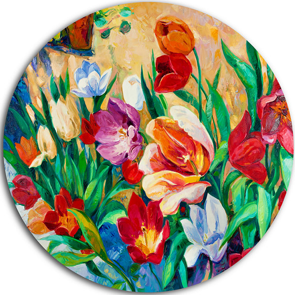 Design Art Bouquet of Colorful Flowers Ultra Glossy Floral Metal Circle Wall Art