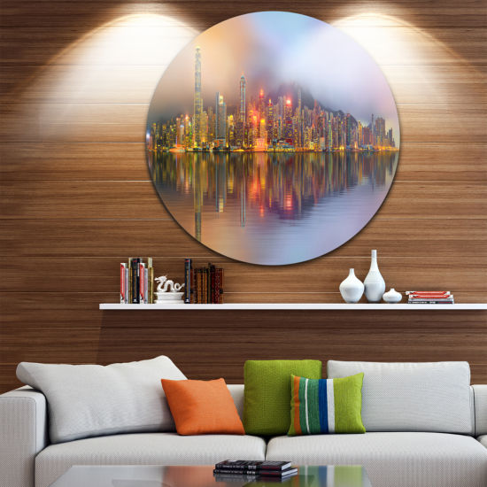 Design Art Singapore Financial District Island Ultra Glossy Cityscape Circle Wall Art