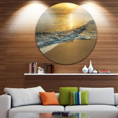Design Art White Waves under Yellow Sunset Beach Metal Circle Wall Art