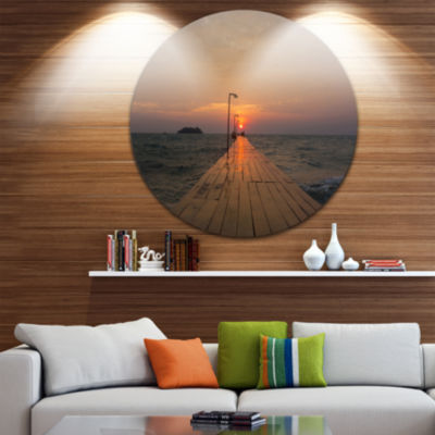 Design Art Large Pier at Koh Rong Island Beach Metal Circle Wall Art