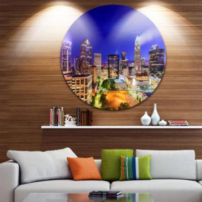 Design Art Charlotte North Carolina Cityscape Ultra Glossy Cityscape Metal Circle Wall Art