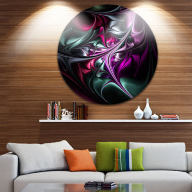 Design Art Multicolored Abstract Floral Shapes Large Floral Metal Circle Wall Art