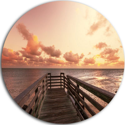 Design Art Boardwalk on Beach Wooden Pier Sea Bridge Metal Circle Wall Art