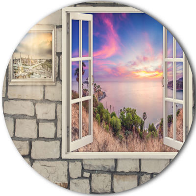 Design Art Window to Beautiful Stretch of Land Landscape Metal Circle Wall Art