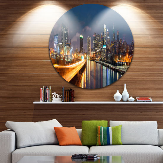Design Art Philadelphia Skyline at Night Ultra Glossy Cityscape Circle Wall Art