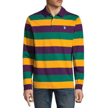 U.S. Polo Assn. Embroidered Long Sleeve Stripe Jersey Polo Shirt