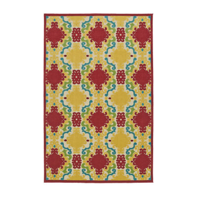 Kaleen Breath of Fresh Air Damask Rectangular Indoor/Outdoor Rug