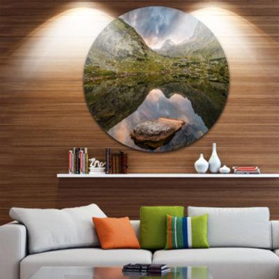 Design Art Mountain Lake over Skok Waterfall ExtraLarge Seashore Metal Circle Wall Art