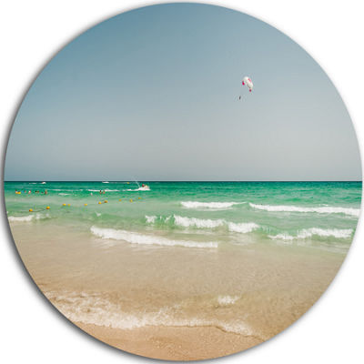 Design Art Parasailing in Summer in Africa Extra Large Seashore Metal Circle Wall Art