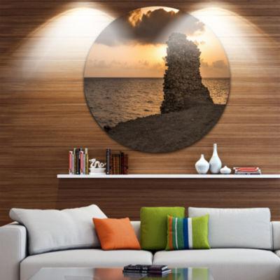 Design Art African Ruins at Sunset Seashore ExtraLarge Seashore Metal Circle Wall Art
