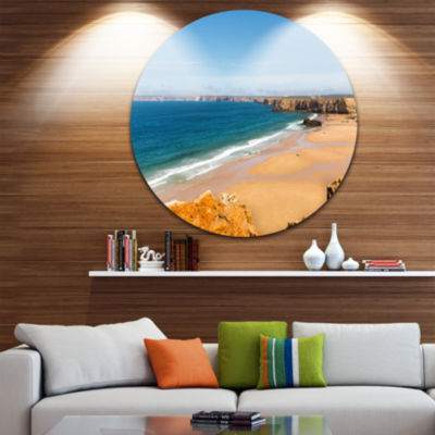 Design Art Serene Rocky Bay Portugal Extra Large Seashore Metal Circle Wall Art