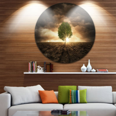 Design Art Lonely Tree under Dramatic Sky Extra Large Wall Art Landscape