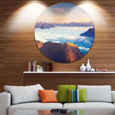 Design Art Val Gardena Valley Panorama Extra LargeSeashore Metal Circle Wall Art