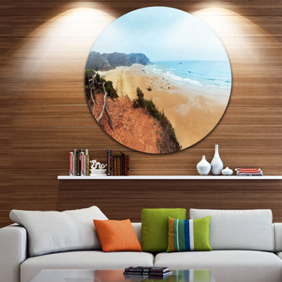 Design Art Tranquil Coastline with Waves OversizedBeach Metal Circle Wall Art
