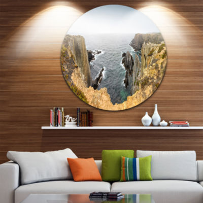 Design Art Rocky Bay Portugal Panorama Oversized Beach Metal Circle Wall Art