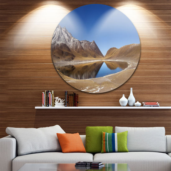 Design Art Miniques Lagoon North of Chile Extra Large Seashore Metal Circle Wall Art