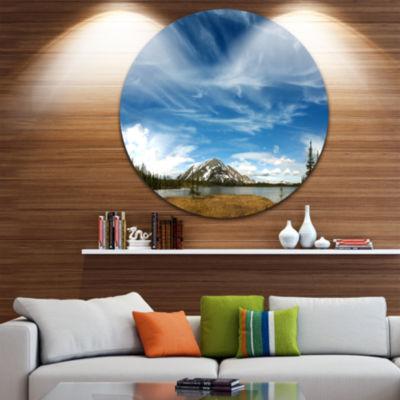 Design Art Mountain and Lake under Blue Sky ExtraLarge Seashore Metal Circle Wall Art