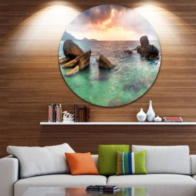 Design Art Sunrise at Blue Lamai Beach Extra LargeSeashore Metal Circle Wall Art