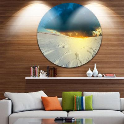 Design Art Sunset over Snowbound Prairie Extra Large Seashore Metal Circle Wall Art