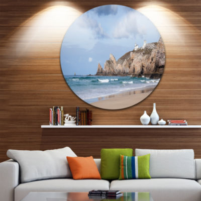 Design Art Coastline with Lighthouse Panorama Extra Large Seashore Metal Circle Wall Art
