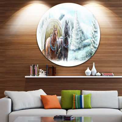 Design Art Painted Scene with Horses in Winter Landscape Metal Circle Wall Art