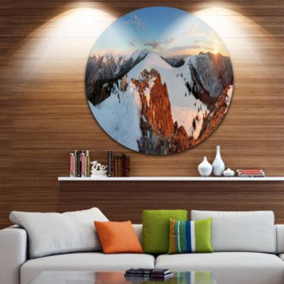 Design Art Slovakia Frozen Landscape Panorama Landscape Metal Circle Wall Art