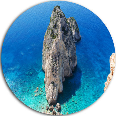 Design Art Zakynthos Beautiful Rocky Coast Extra Large Seashore Metal Circle Wall Art