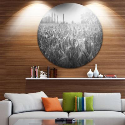 Design Art Black and White Wheat Field Landscape Metal Circle Wall Art