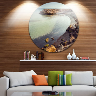 Design Art Little Lagoon with Fishermen Africa Extra Large Seashore Metal Circle Wall Art