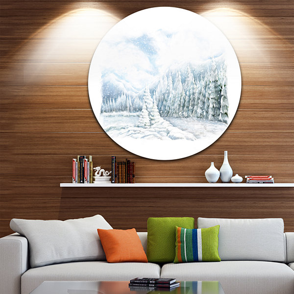Design Art Christmas Winter Happy Panorama Landscape Metal Circle Wall Art