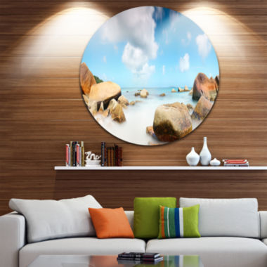 Design Art Rocky Blue Seashore Panorama Extra Large Wall Art Landscape
