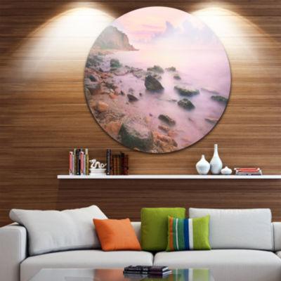 Design Art Colorful Sunset over the Sea Extra Large Seashore Metal Circle Wall Art