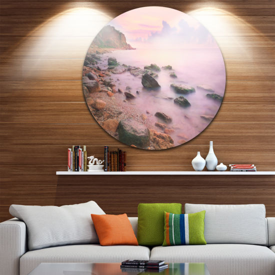 Design Art Colorful Sunset over the Sea Extra Large Seashore Metal Circle Wall Art