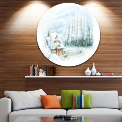 Design Art Christmas Winter Happy Scene LandscapeMetal Circle Wall Art