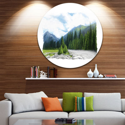 Design Art Happy Summer Pastures in Mountains Landscape Metal Circle Wall Art