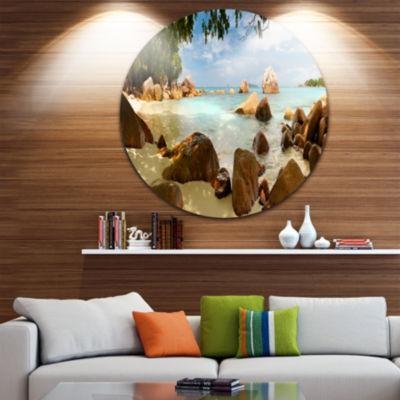 Design Art Tropical Rocky Beach Panorama Extra Large Wall Art Landscape