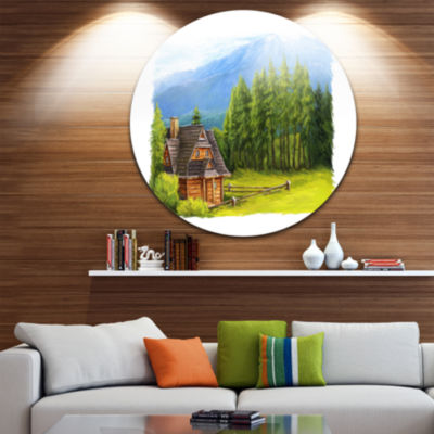 Design Art Small Wooden Home in Mountains Landscape Metal Circle Wall Art