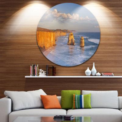 Design Art Twelve Apostles on Ocean Road Extra Large Seashore Metal Circle Wall Art