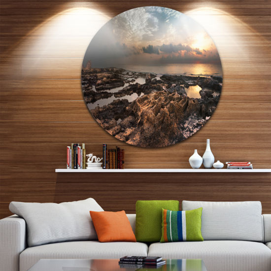 Design Art African Rocky Coast Panorama OversizedBeach Metal Circle Wall Art
