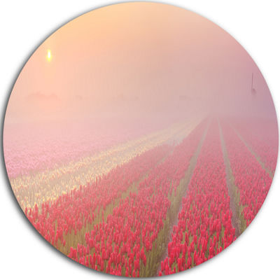 Design Art Sunrise over Rows of Tulips Landscape Metal Circle Wall Art