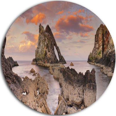 Design Art Bow Fiddle Rock Scotland Extra Large Seashore Metal Circle Wall Art