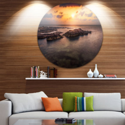 Design Art Sunset over African Seashore OversizedBeach Metal Circle Wall Art