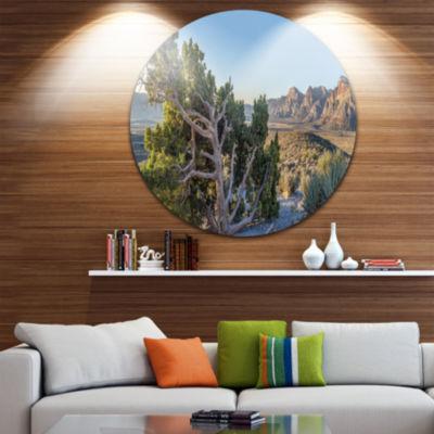 Design Art Large Rock Canyon Panorama Landscape Metal Circle Wall Art